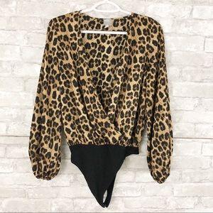 ASOS Leopard Print Wrap Bodysuit